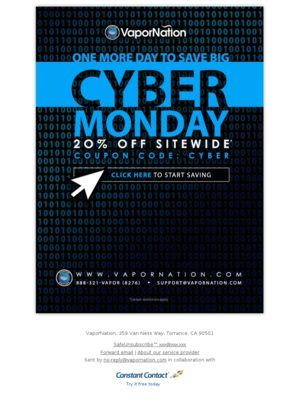 Last Day For Cyber Monday Savings