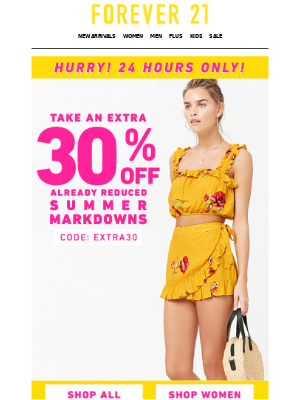Last Call! Extra 30% off!