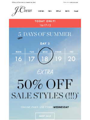 Day 3: extra 50% off sale styles, today only!