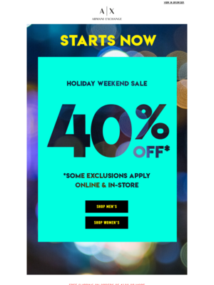 Holiday Weekend Sale STARTS NOW!