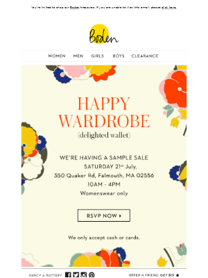 Don't miss the Falmouth Sample Sale
