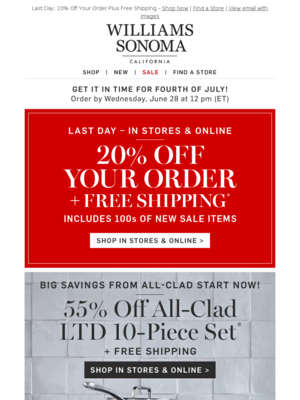 Williams Sonoma - Williams-Sonoma@mail.williams-sonoma.com