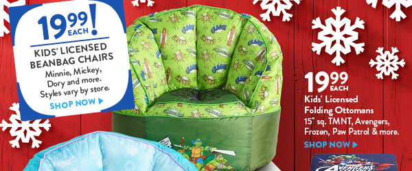 Kids Licensed Beanbag Chairs 1999 Each Folding Ottomans