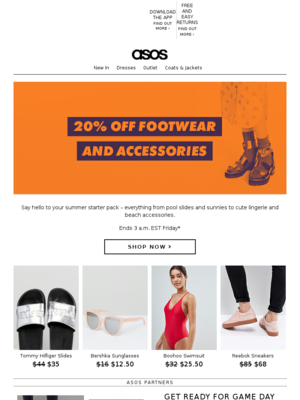 20% off shoes and accessories