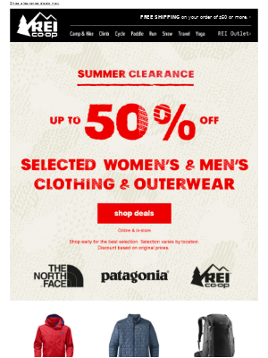 Up to 50% Off The North Face, Patagonia & REI Co-op