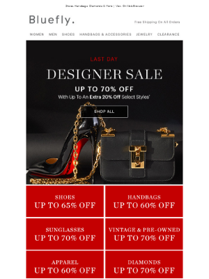 Last Day For EXTRA 20% OFF Designer
