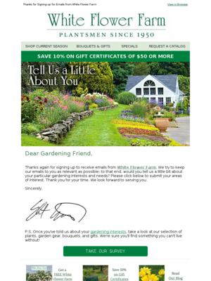 White flower farm email example tell white flower farm about your 551 mightylinksfo