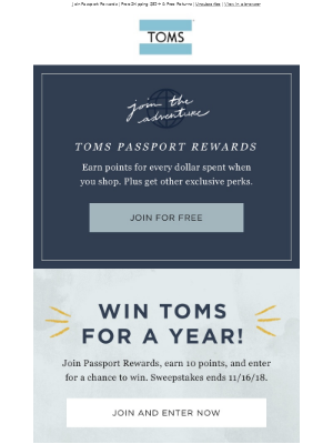 Win free TOMS for a year!