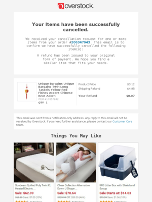 Cancellation Confirmation for Your Order