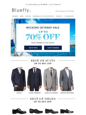Suits, Shoes & Sunnies Up To 70% Off