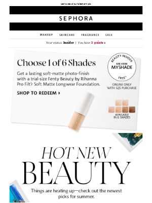 FREE Fenty Beauty foundation trial-size with $25 purchase