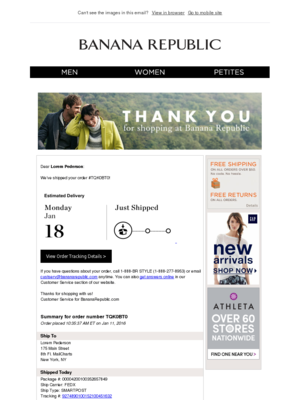 Shipping Confirmation Email Examples