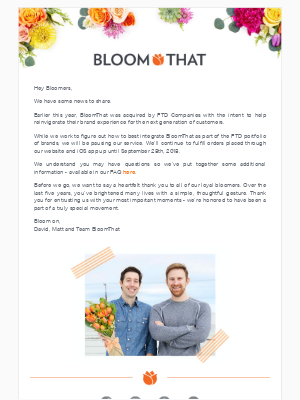 Important Updates to BloomThat Service💐❤️