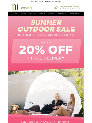 Lexmod email example: Up To 15% OFF Living Room Furniture + Free ...