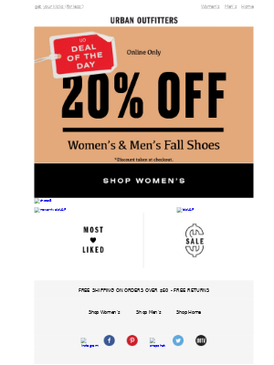 🔥 Deal of the Day: 20% OFF FALL SHOES