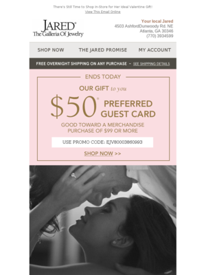 Jared email example 100 Off Your Next Jewelry Purchase