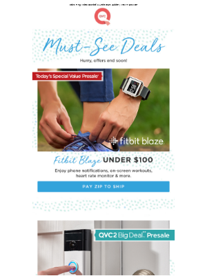 QVC email example: 3 Great Deals! Fitbit Blaze, Ring Video Doorbell