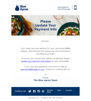 Action Required: Please Update Your Payment Information with Blue Apron