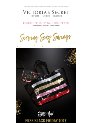 Serving sexy savings: FREE BLACK FRIDAY TOTE STARTS NOW