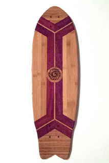 Purpleheart and chocolate bamboo, custom longboard skateboard cruiser from Makai Project