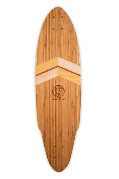 Handcrafted Longboard Skateboard Deck | Smoked Bamboo, Tiger Maple, Yellowheart, Mahogany