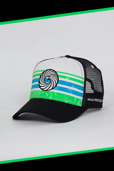 Makai Project Trucker Hat - Black with White Canvas and Black Embroidery