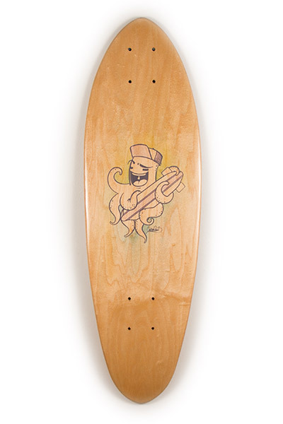 Handmade Skateboards by Makai Project with hand painted art by CocoRamd of Rainy Sun Design