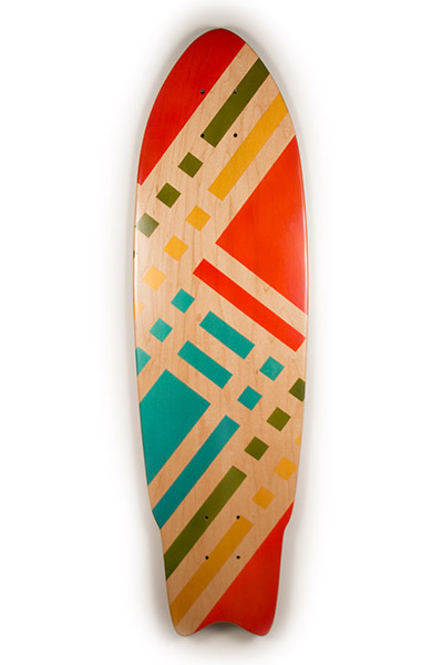 One-of-a-Kind Graphic Art on a Handmade SKateboard, hand built in Jupiter, Florida