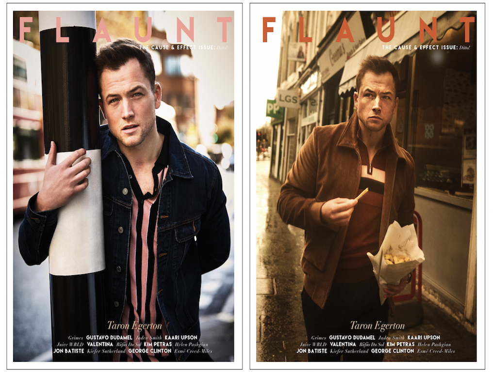 Taron egerton wears ben sherman on front cover of flaunt magazine