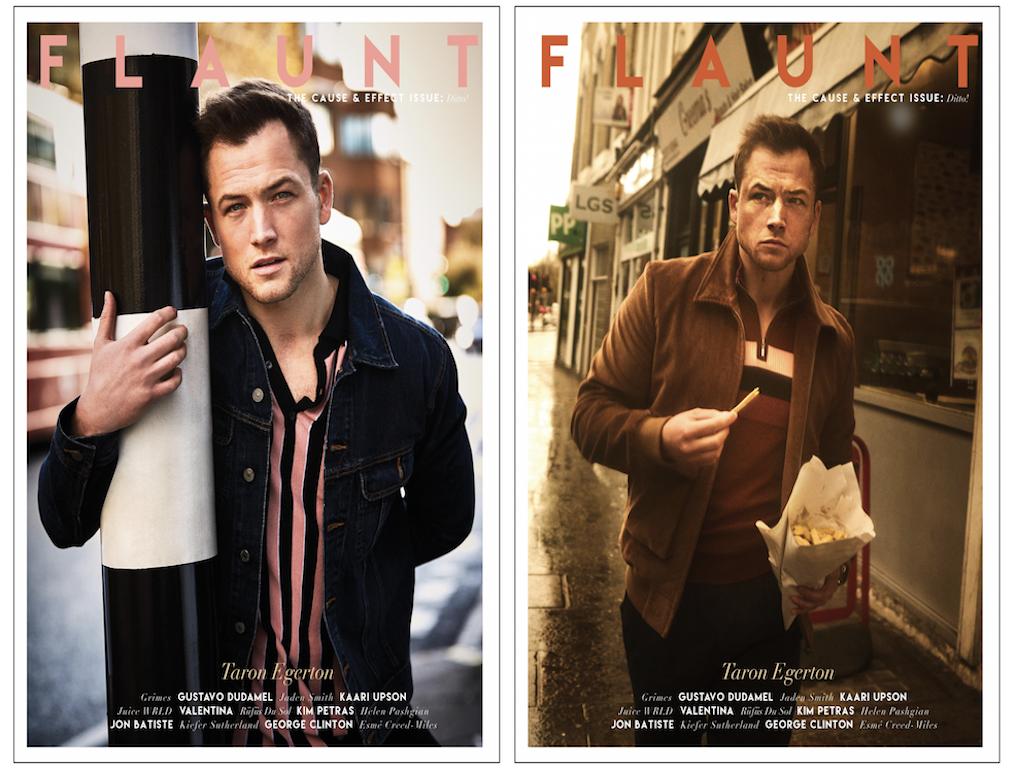 Taron egerton wears ben sherman on front cover of flaunt magazine