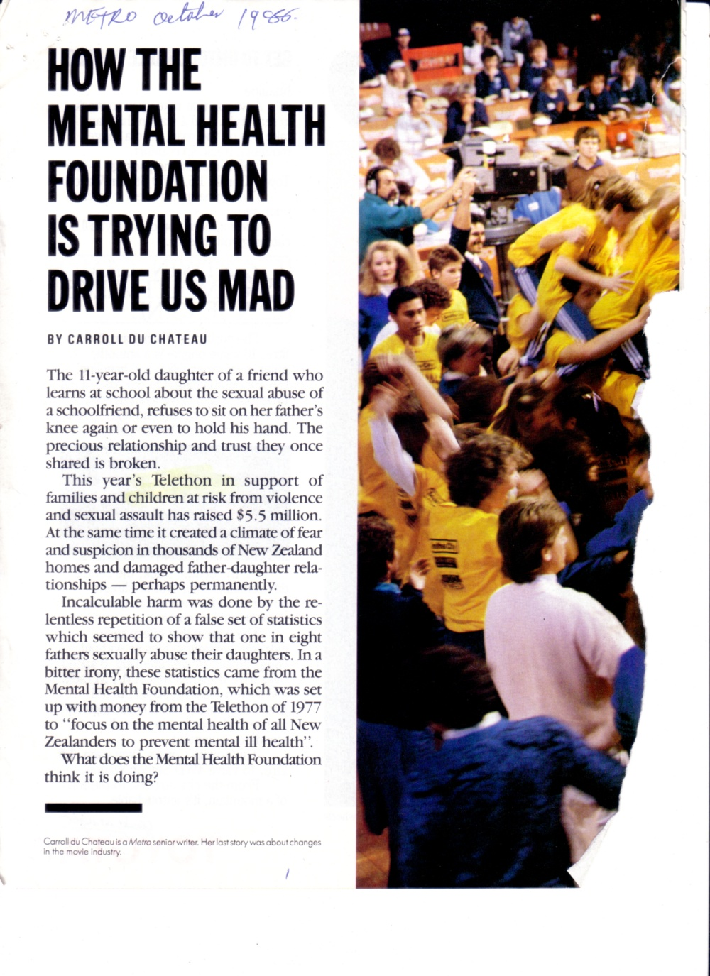 How the Mental Health Foundation is trying to drive us mad - Metro 0ct 1986 p01