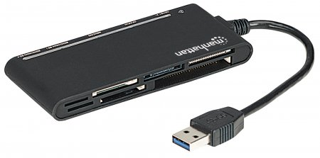 Multi-Card Reader/Writer MANHATTAN USB 3.0, externer Card Reader/Writer, 62-in-1, schwarz