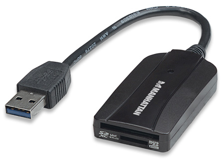 USB 3.0 Multi-Card Reader/Writer MANHATTAN USB 3.0, externer Card Reader/Writer, 24-in-1, schwarz