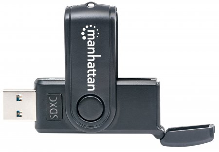 Mini Multi-Card Reader/Writer MANHATTAN USB 3.0, externer Card Reader/Writer, 24-in-1, schwarz, besonders kompakt
