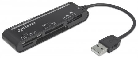 Multi-Card Reader/Writer MANHATTAN Hi-Speed USB 2.0, Slimline, 79-in-1
