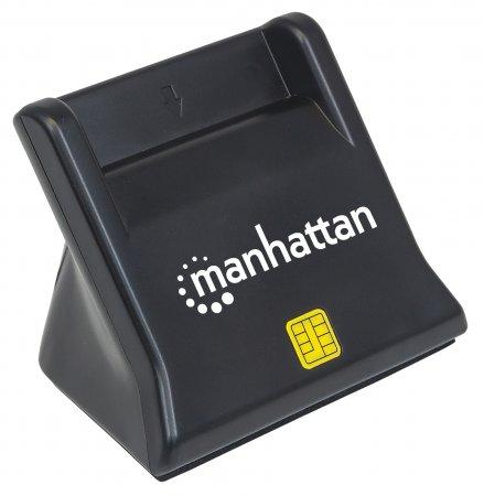 USB-Smartcard-/SIM-Kartenlesegerät mit Standfuß MANHATTAN USB 2.0 Typ A, Kontaktlesegerät, Desktop, extern, schwarz