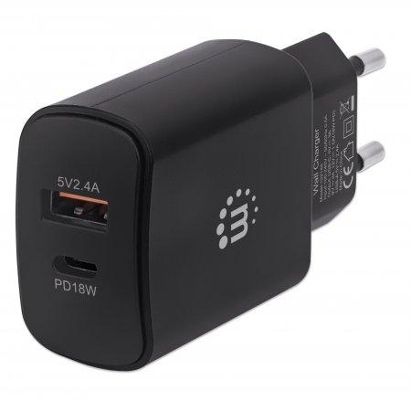 Power Delivery USB-Ladegerät 27 W MANHATTAN USB-Netzteil mit USB-C Power Delivery-Port (PD 3.0) mit bis zu 18 W, USB-A-Ladeport mit bis zu 5 V / 2,4 A schwarz