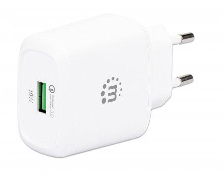 QC 3.0 USB-Ladegerät 18 W MANHATTAN USB-Netzteil mit USB-A Qualcomm Quick Charge™ 3.0-Port mit bis zu 18 W, weiß