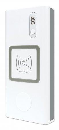 Powerbank 20.000 mAh mit Power Delivery & Induktionsladegerät MANHATTAN Zwei kabellose Induktionsladepads (10 W & 2 W), ein USB-C PD-Port mit bis zu 60 W, ein USB-A QC 3.0-Port mit bis zu 24 W, weiß/s
