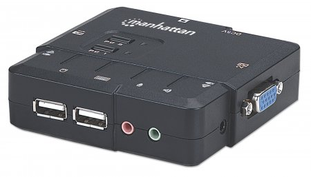 2-Port Kompakt-KVM-Switch mit Audio MANHATTAN USB, mit Kabeln und Audiounterstützung
