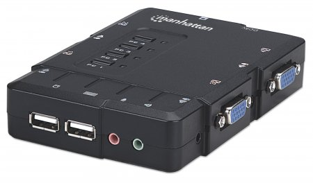 4-Port Compact KVM Switch - , USB, with Cables and Audio Support