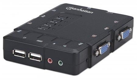 4-Port Kompakt-KVM-Switch mit Audio MANHATTAN USB, mit Kabeln und Audiounterstützung