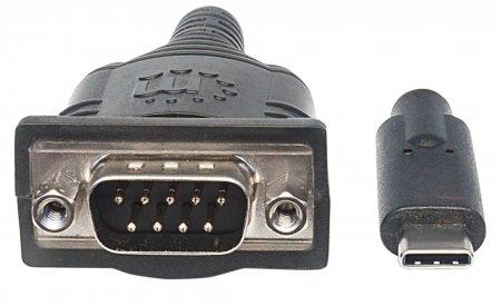 USB Typ C auf Seriell-Konverter MANHATTAN Zum Anschluss eines seriellen Geräts an einen USB Typ C-Port, Prolific PL-2303RA-Chipsatz, 0,45 m