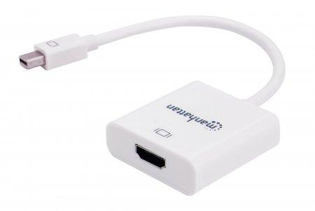 Aktiver Mini-DisplayPort auf HDMI-Adapter MANHATTAN Mini-DisplayPort-Stecker auf HDMI-Buchse, 4K@60Hz, weiß, Polybagverpackung