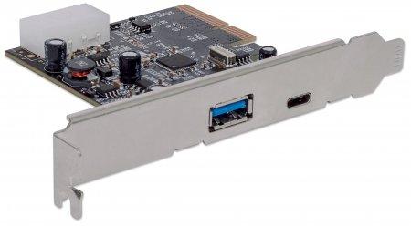 USB-C 3.1 PCI-Expresskarte MANHATTAN Zwei externe USB 3.1-Ports, 1 x Typ C und 1 x Typ A