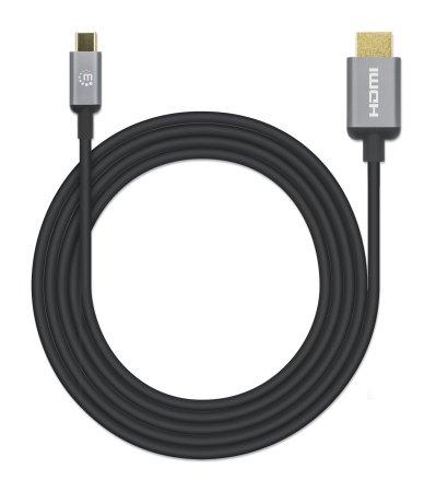 USB Typ C auf HDMI-Adapterkabel MANHATTAN Konvertiert das Alternate-Mode-Signal in ein HDMI 4K-Ausgangssignal, 2 m, schwarz
