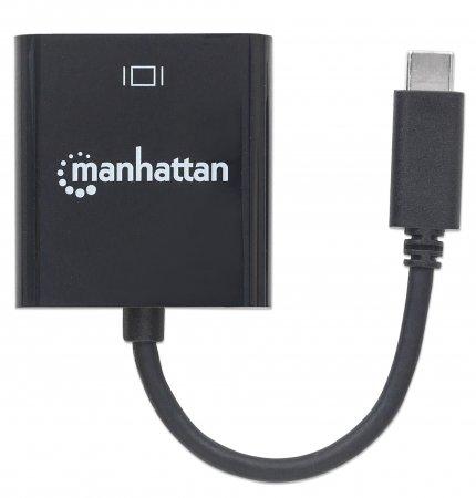 USB 3.1 Typ C auf VGA-Konverter MANHATTAN Typ C-Stecker auf VGA-Buchse, schwarz
