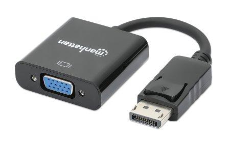 DisplayPort auf VGA-Konverter MANHATTAN DisplayPort-Stecker auf HD15-Buchse, 15 cm, aktiv, schwarz