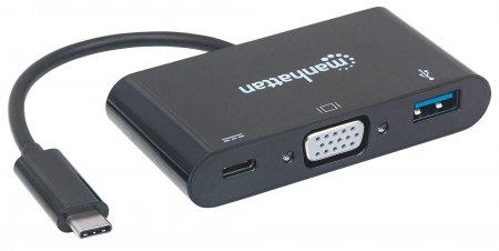 USB 3.1 Typ C VGA Docking-Konverter MANHATTAN USB 3.1 Typ C-Stecker auf VGA, USB Typ A-Buchse und USB Typ C-Buchse, Multiport-Konverter, schwarz