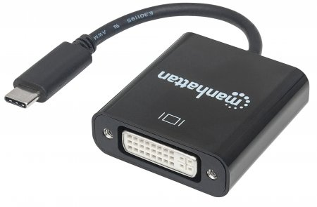 SuperSpeed+ USB-C 3.1 to DVI Converter - Enjoy Ultra high-definition (UHD) images on a DVI monitor, projector or other display device; Supports video resolutions up to 3840x2160p@30Hz, 4K, Full UHD, C Male to DVI Female, Black